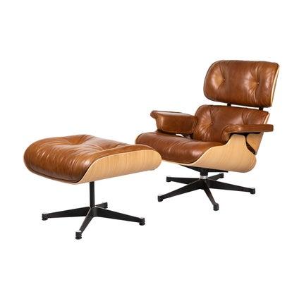 Replica Eames Lounge & Ottoman Set - Saddle/Oak