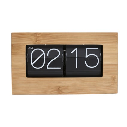 Retro Flip Clock - Black/Wood - 21cm