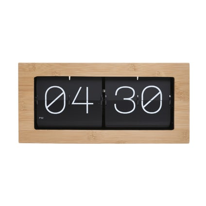 Retro Flip Clock - Black/Wood - 37cm