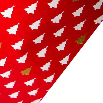 Gift Wrap  Xmas Tree - Red 10m