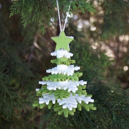 Yuletide 3d Xmas Tree Decoration - Green/White
