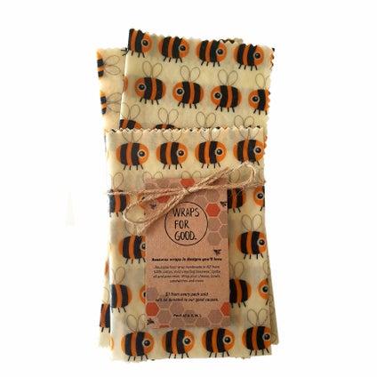 Beeswax Wrap - NZ Made -  Bee 3pc
