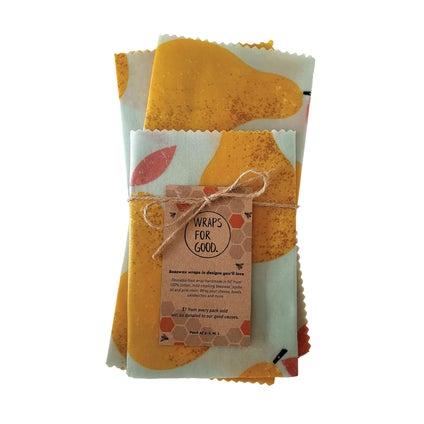 Beeswax Wraps - NZ Made - Golden Pear 3pc