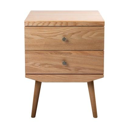 Barber Bedside Table - 2 Drawer - Oak