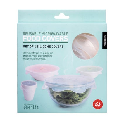Reuseable Microwave Cover - White 4pc