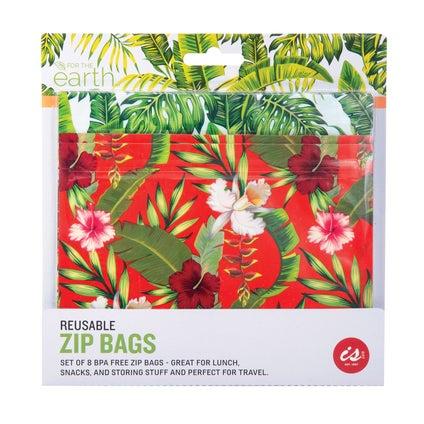 Reuseable Zip Bags - Tropical 8pc