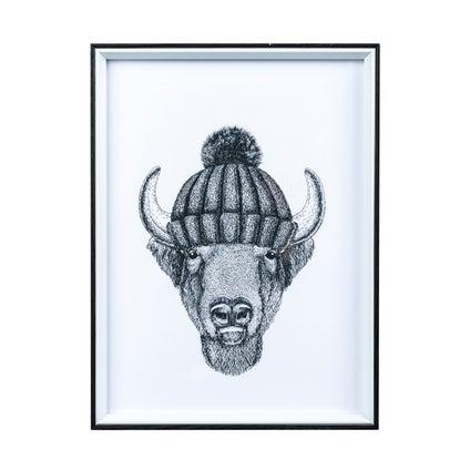 Hipster Bison Print