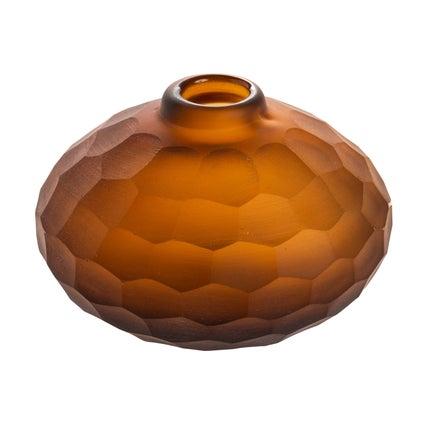 Prism Cut Glass Vase - Caramel - Short