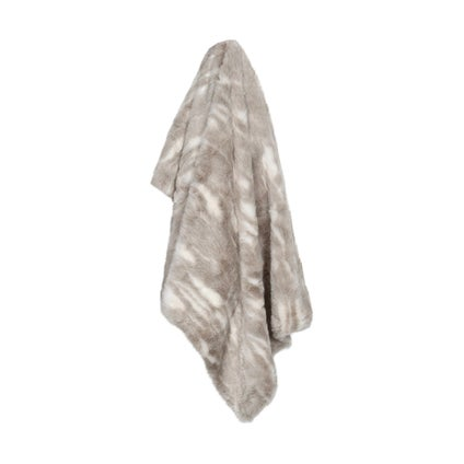 Mottled Faux Fur Throw- Natural