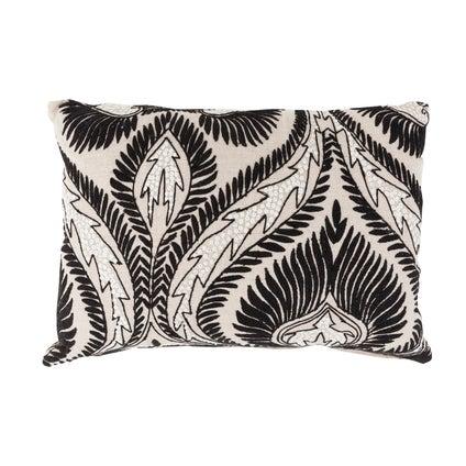 Paisley Linen Cushion - Natural/Black - 35x50cm