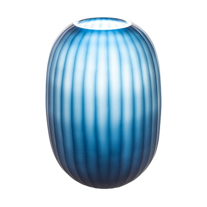Mahia Cut Glass Vase - Deep Blue