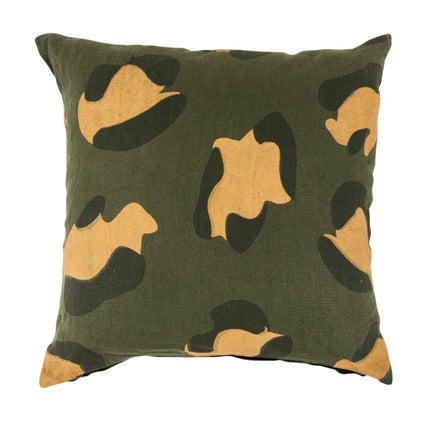 Animal Print Cushion - Olive 45x45cm