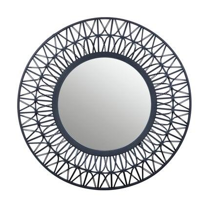 Woven Rattan Mirror - Black