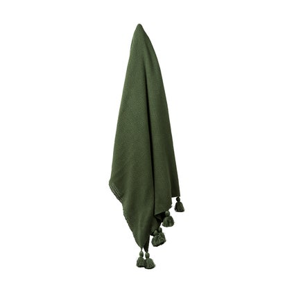 Sami Cotton Moss Knit Throw - Dark Green