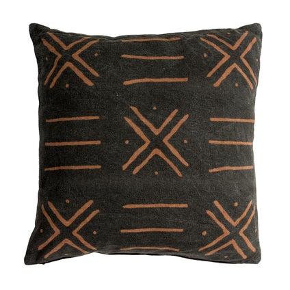 Bamako Print Cushion - Black/Charcoal 50x50cm