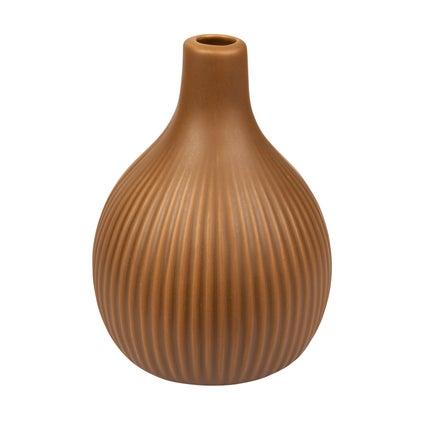 Bulb Ribbed Vase - Old Gold