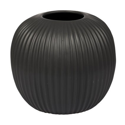 Round Ribbed Vase - Black