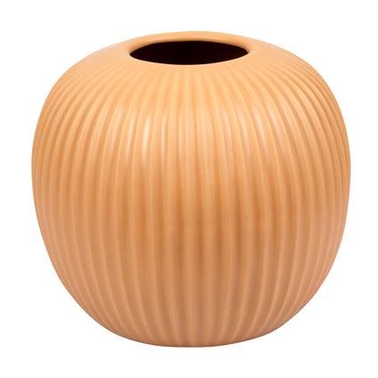 Round Ribbed Vase - Caramel