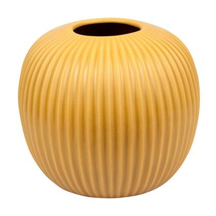 Round Ribbed Vase - Mustard