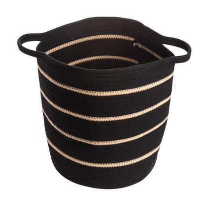 Kikka Stripe Basket - Black/Caramel