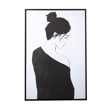 Girl in Black Canvas