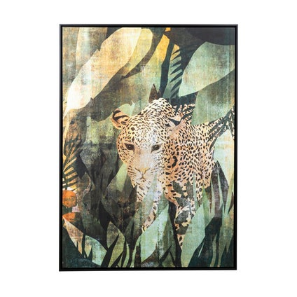 Leopard in Leaves Framed Canvas