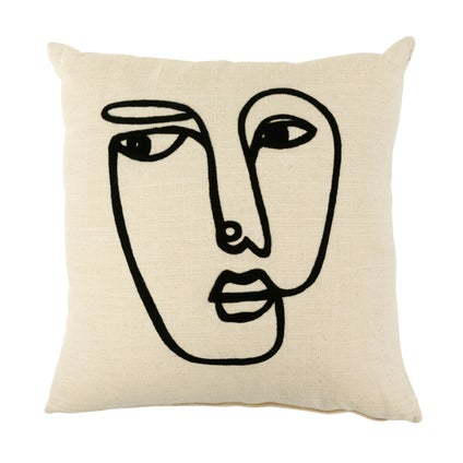 Think Embroidered Cushion - Off White - 45x45cm