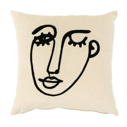 Wink Embroidered Cushion - Off White - 45x45cm