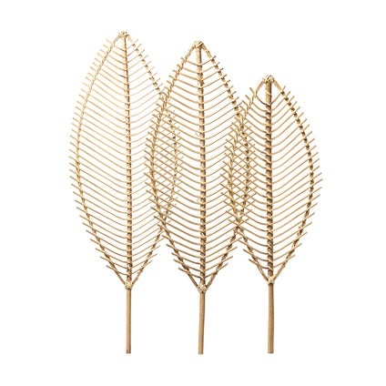 Rattan Leaves Wall Decoration - Natural 3pc