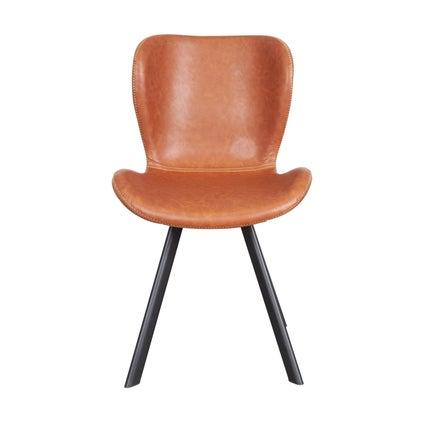 Sala PU Dining Chairs- Black/Brandy
